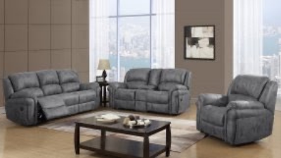light grey leather reclining couch, loveseat and chair with coffee table display