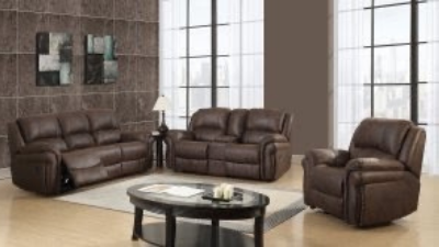 brown leather reclining couch, loveseat and chair with coffee table display