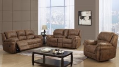 light brown leather reclining couch, loveseat and chair with coffee table display