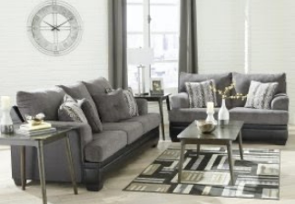light grey couch and loveseat with coffee table display