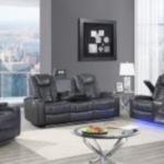 grey leather three-piece reclining living room set